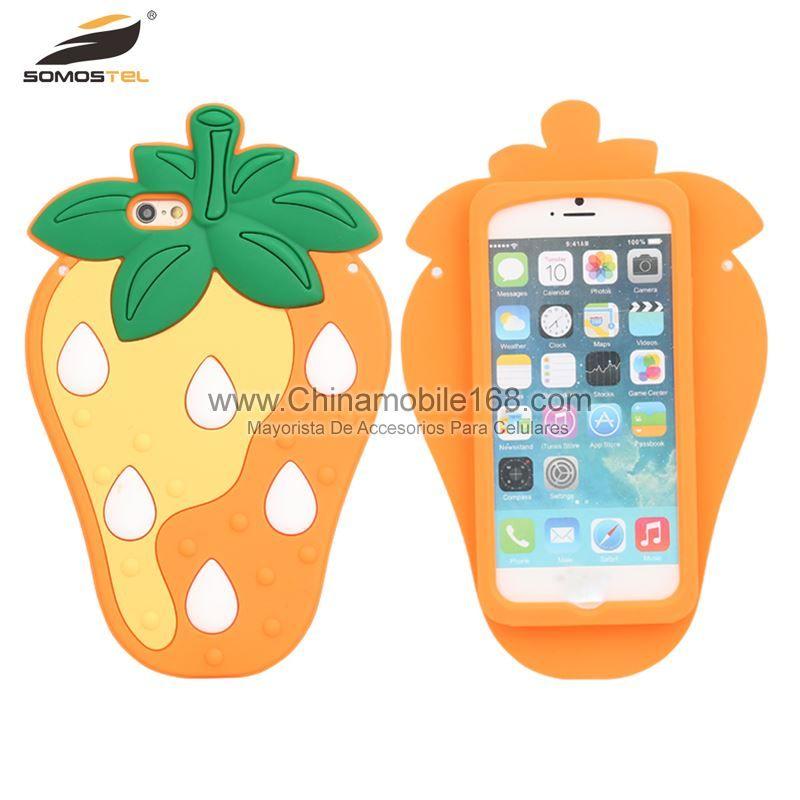 9d9a38f78d8 3D lindo de dibujos animados de fresa suave cubierta de funda de silicona  para iPhone 7 7 Plus-Funda TPU Protector-Funda Protectors-Somostel -  Mayorista de ...