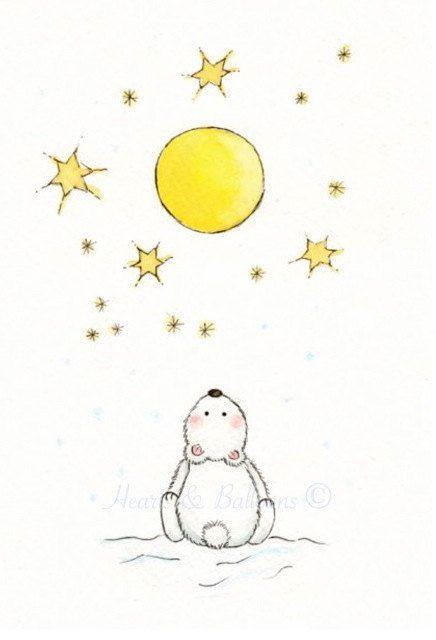 Nursery art ORIGINAL watercolour....Starry night. $15.00, via Etsy.: