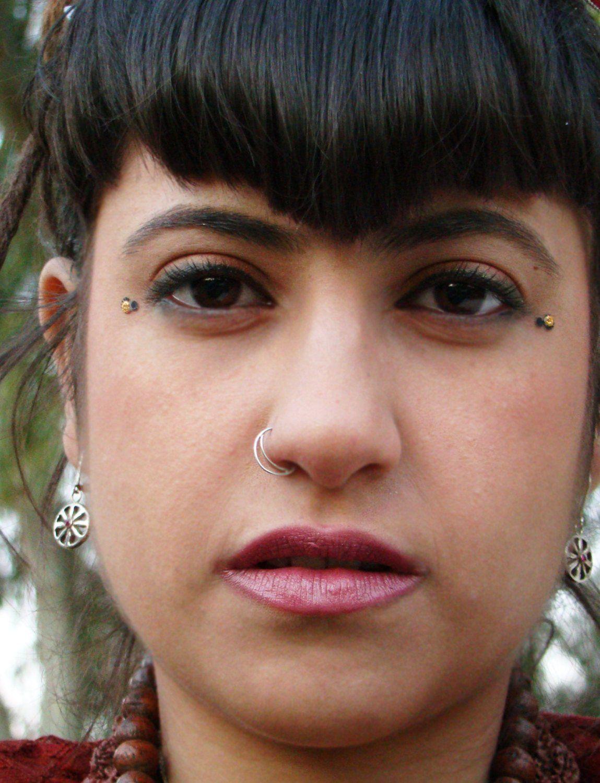 Nose piercing through both nostrils  Silver Nose Ring Nose Hoop Half Moon Silver Nose Ring Nostril