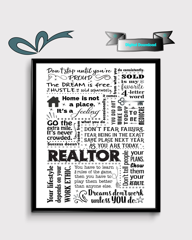 Realtor Office Decor Real Estate Sign Instant Download