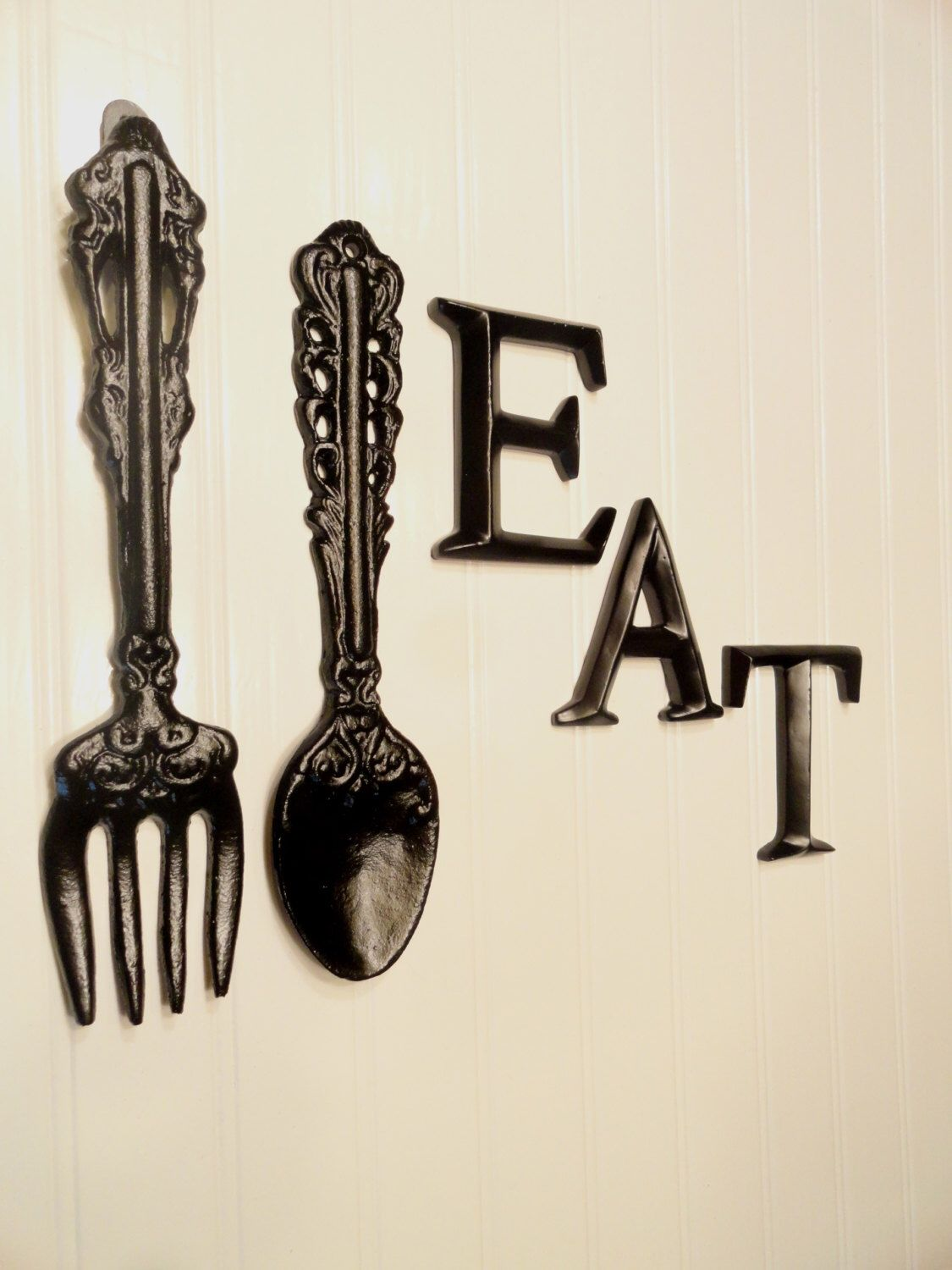 Black Kitchen Wall Decor, Large Fork Spoon Wall Decor, Eat