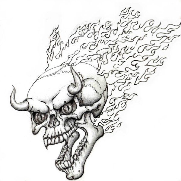 Flaming Skull By SteevDragon On DeviantART Coloring Pages Colouring Adult Detailed Advanced Printable Kleuren Voor Volwassenen Coloriage Pour Adulte