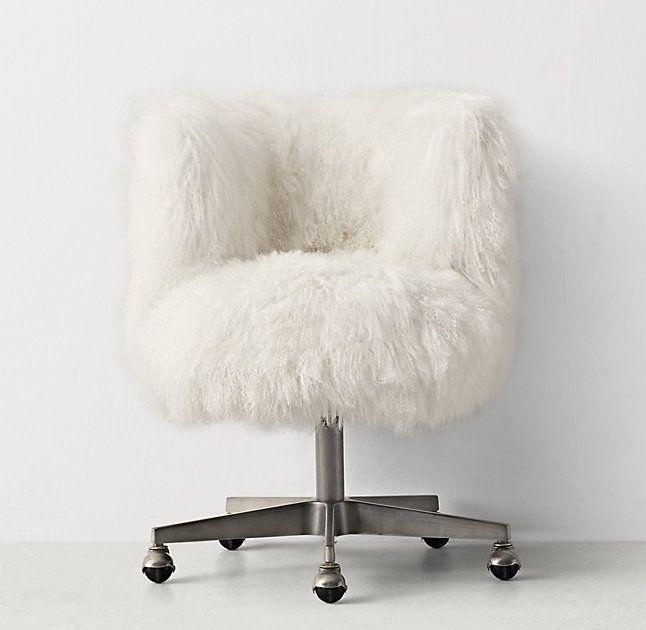 Kinney Mongolian Lamb Desk Chair Pewter Girls Desk Chair