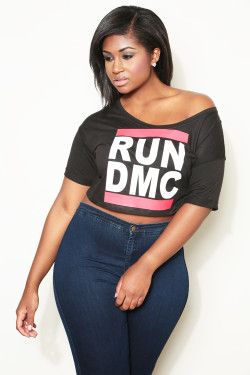 relaxed fit over the shoulder plus size crop top