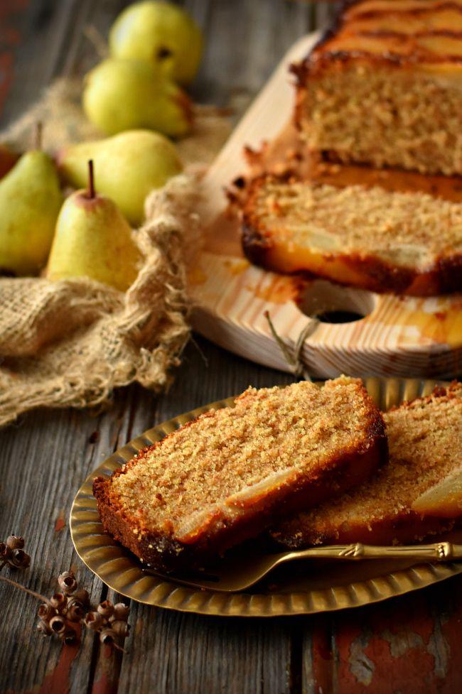 pear & rye upside-down cake