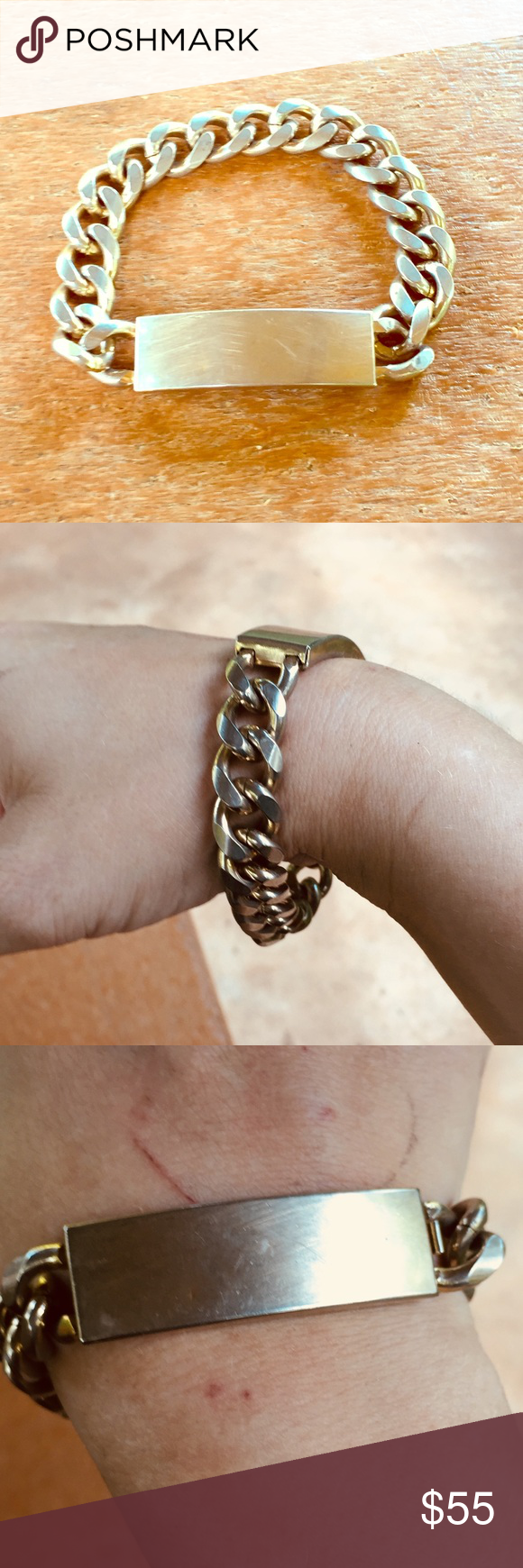 Vintage unisex gold plated chain id bracelet pinterest metal