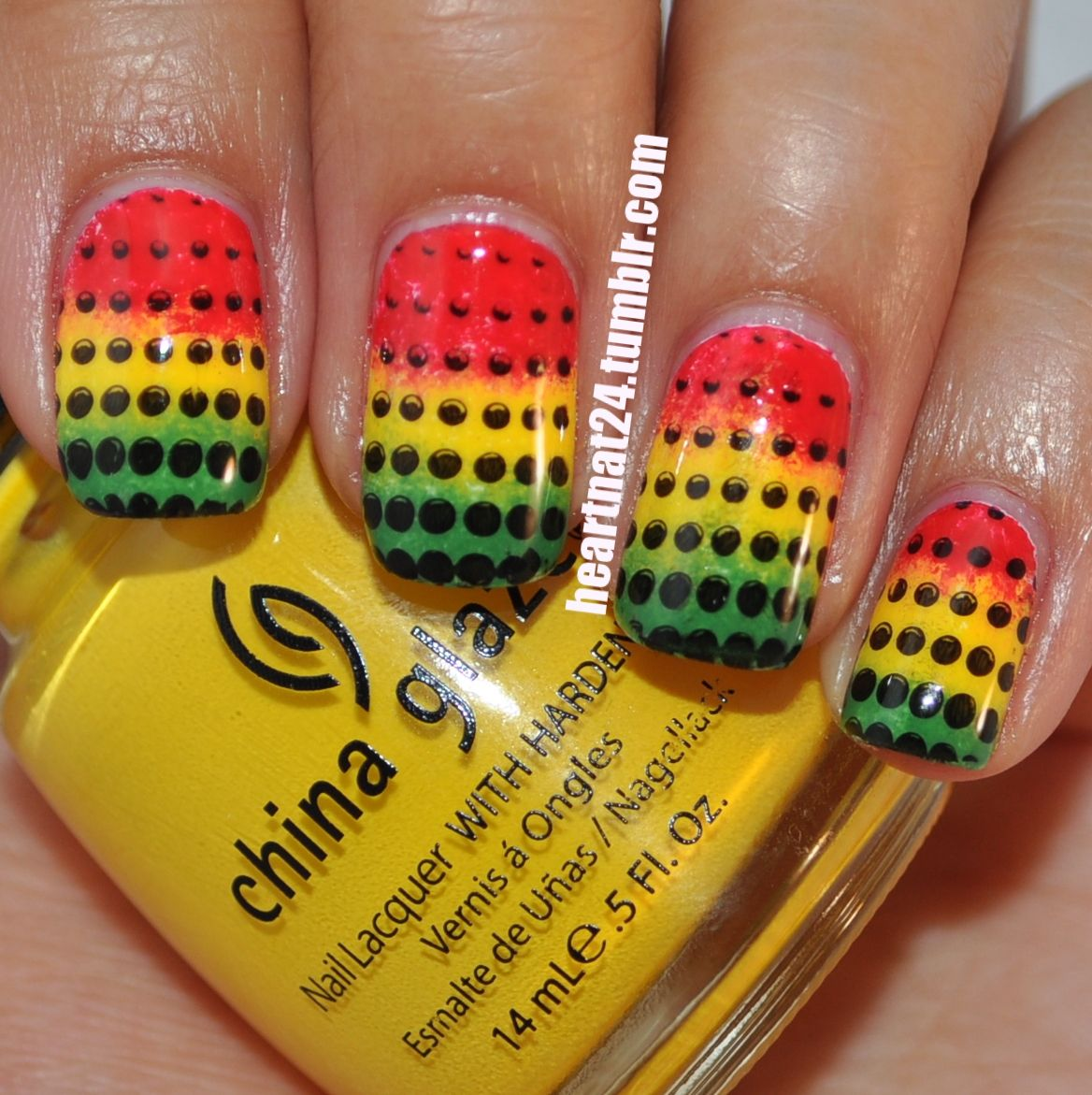 Rastafarian Nails with Black Polka Dots - Rastafarian Nails With Black Polka Dots Nails Pinterest Hair
