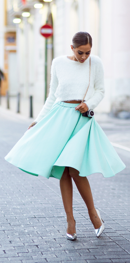 Mint swing skirt