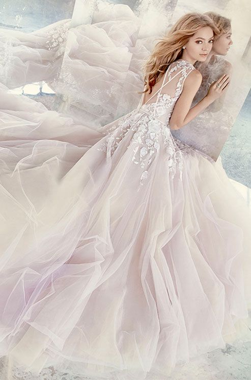 Amethyst floral sequin bridal ball gown, sleeveless V-neck bodice with delicate trim accent front and back, full tulle skirt and cathedral train. Hayley Paige Spring 2016 Wedding Dress Collection