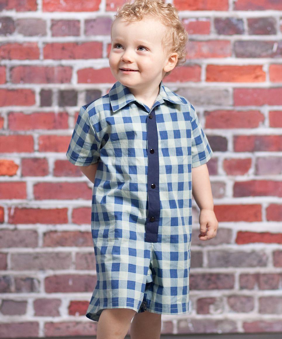 Blue Speed Racer Oliver Button Romper - Infant