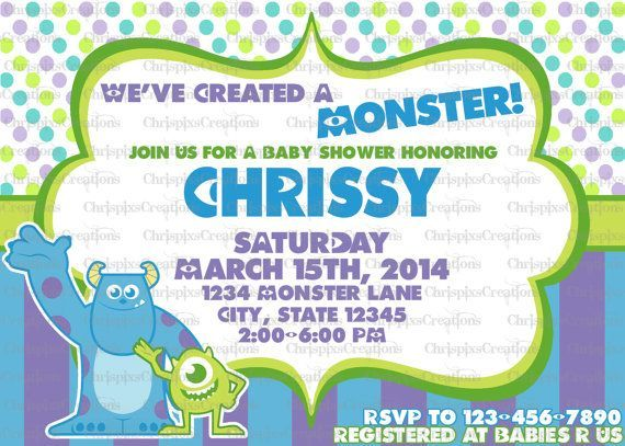 MONSTERS INC BABY SHOWER Monsters Inc Baby Shower Invitation