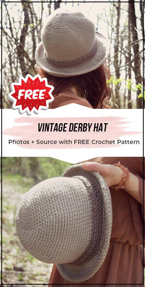 crochet Vintage Derby Hat free pattern - easy crochet hat pattern for beginners