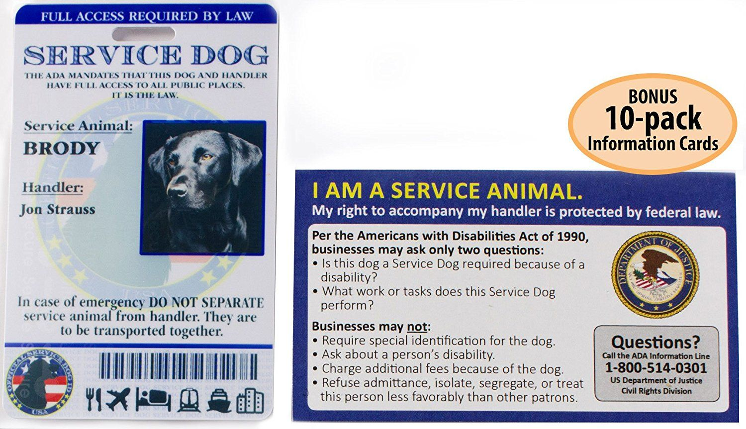 Buttonsmith Custom Personalized Service Dog ID Card - with Bonus 10 ...