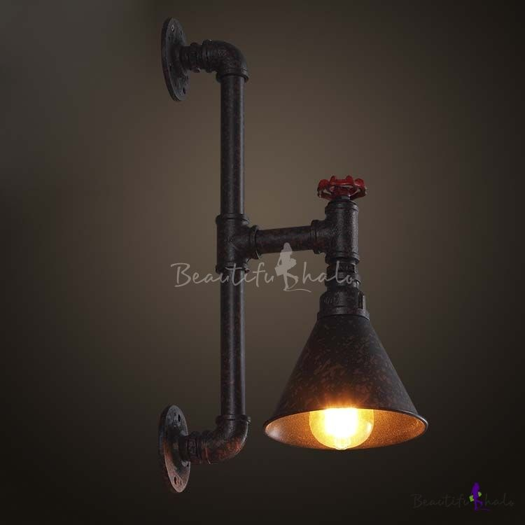 bowl adjustable arm shade p wall with industrial black sconce retro swinging in