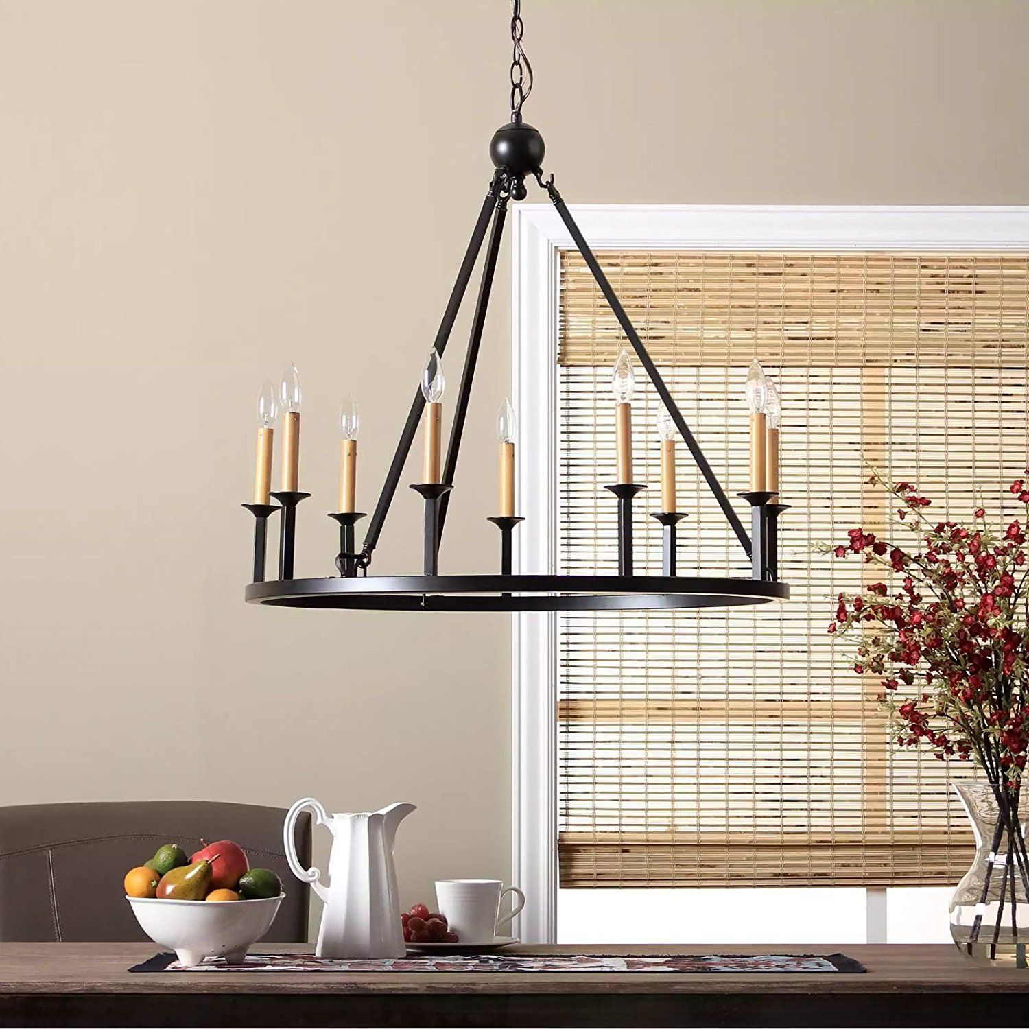 Rustic Chandelier Lighting Great For High And Low Ceiling Rooms Circular Round Fixture Provides Warm Multidirectional Light Candle Style Modern Farmhouse