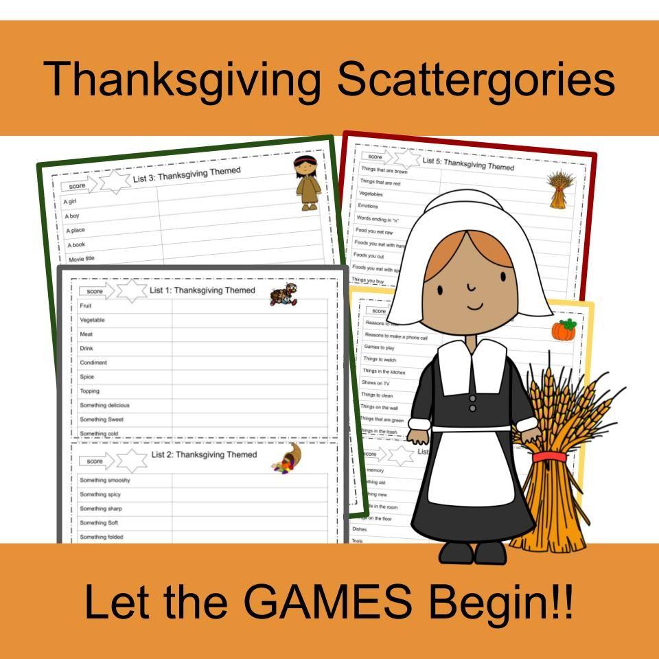Scattergories Printable Scattergories Thanksgiving Kids Scattergories Lists
