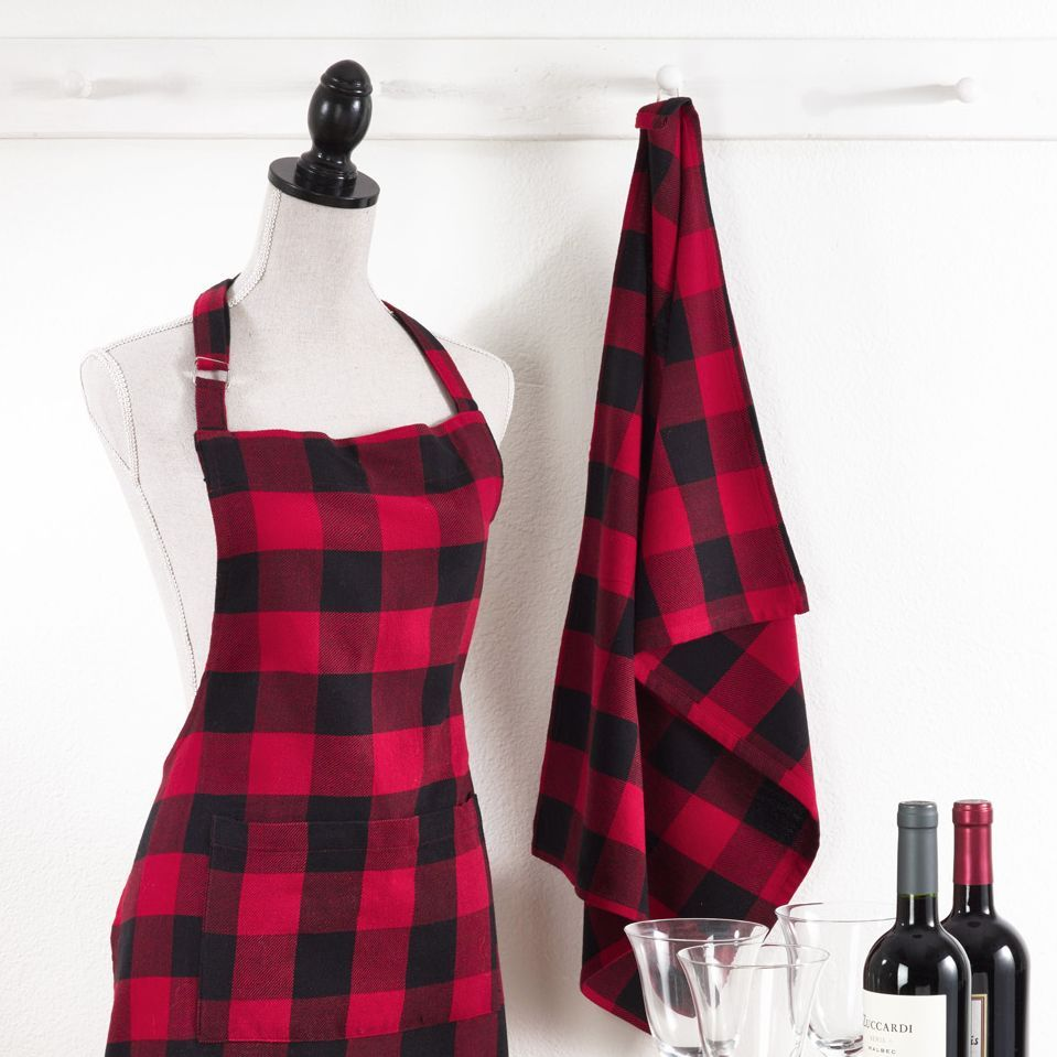 Tea Towel Red And Black Buffalo Plaid For The Holiday Kitchen Black And Red Kitchen Plaid Apron Red Kitchen Decor