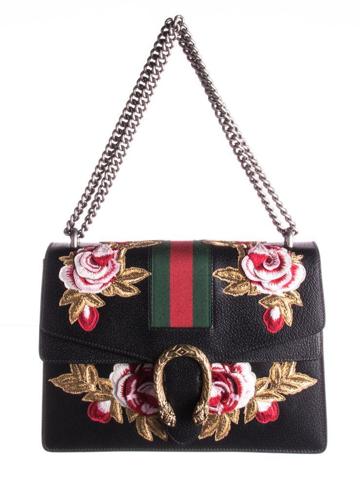 de320d7dedd4 GUCCI Black Leather Embroidered Dionysus Shoulder Bag #fashion #clothing  #shoes #accessories #womensbagshandbags (ebay link)