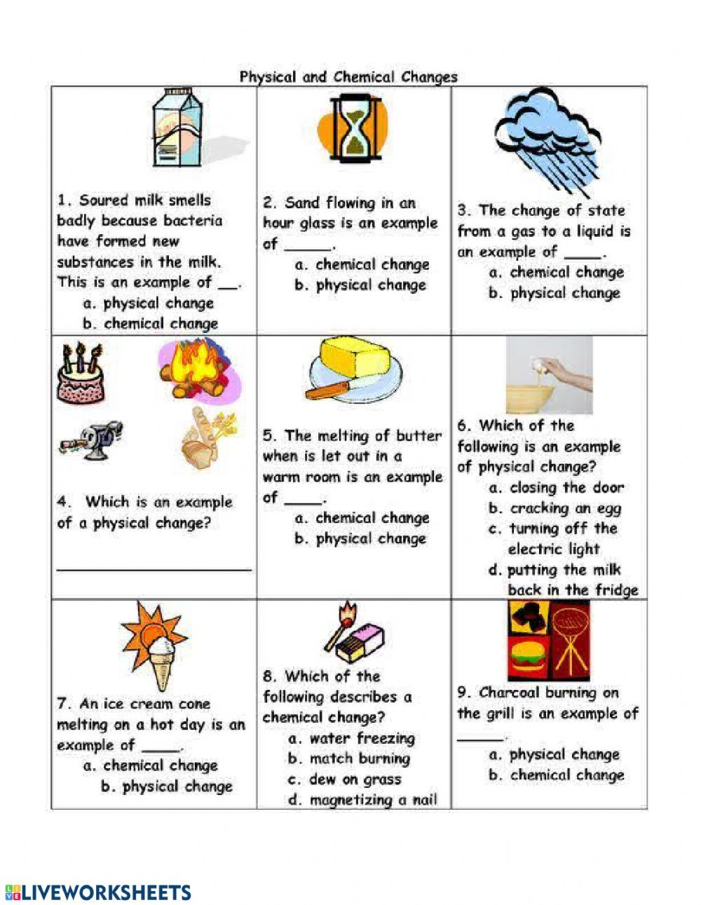 Physical and Chemical Changes Interactive worksheet   Chemical and physical  changes [ 1291 x 1000 Pixel ]