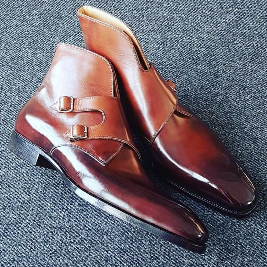 SAINT CRISPIN'S Mod. 665 Double buckle Monk boots on