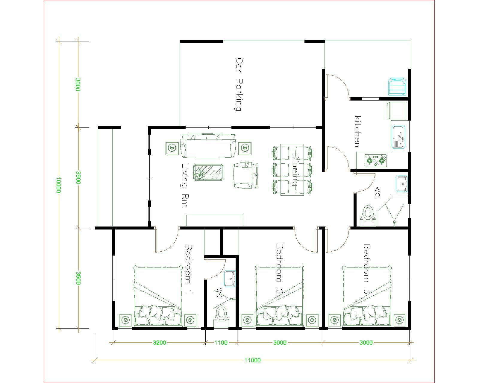 House Plans Design 10x11 With 3 Bedrooms Home Design Plans