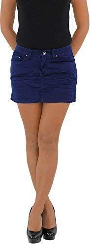 Damen Jeans Minirock Mini Rock Jeansrock Sommerrock Hüft Hüftrock Stretch Blau