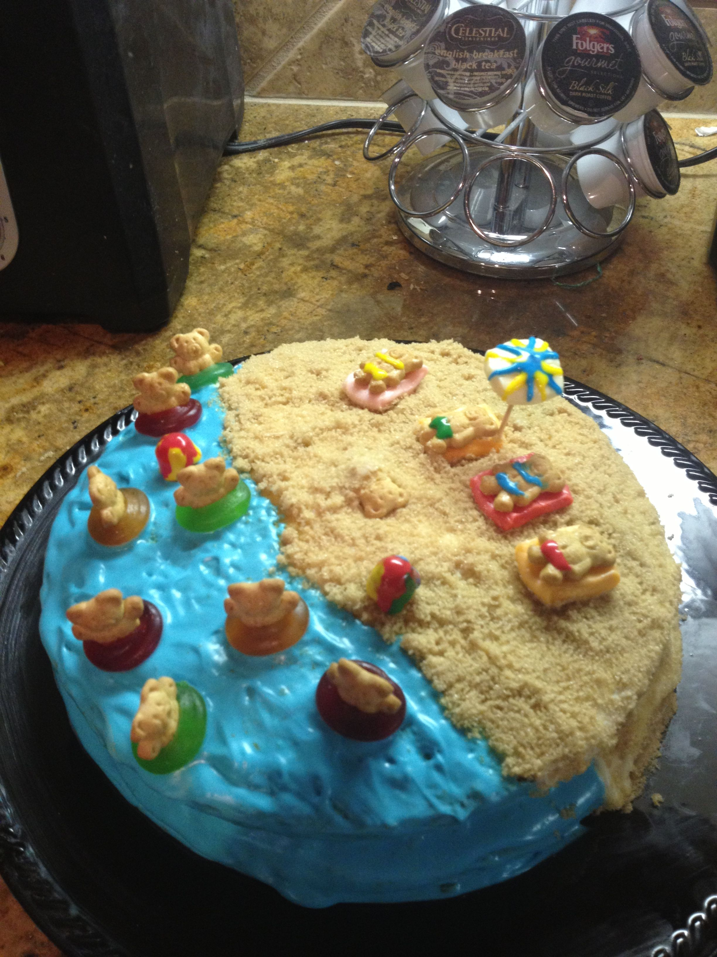 Pool party cake!! That I made this morning!!