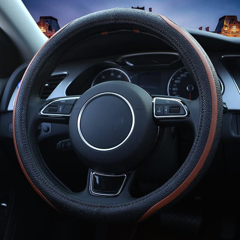two tone sport car steering wheel cover fuber leather steeringtwo tone sport car steering wheel cover fuber leather steering covers four season auto supplier car steering wheel cases black yesterday\u0027s price us $19 52