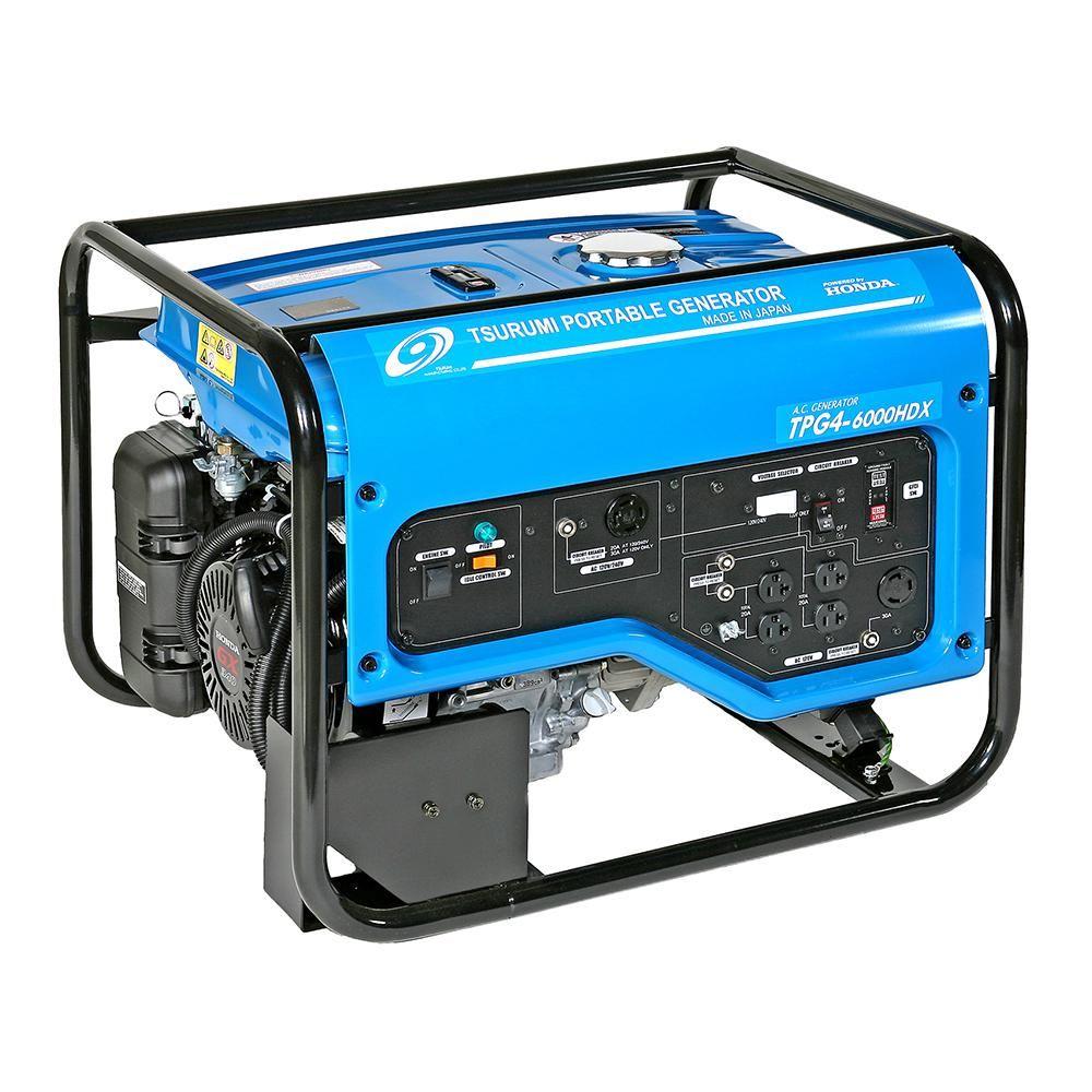 Tsurumi Pump 4 800 Watt Gasoline Powered Portable Blue Generator