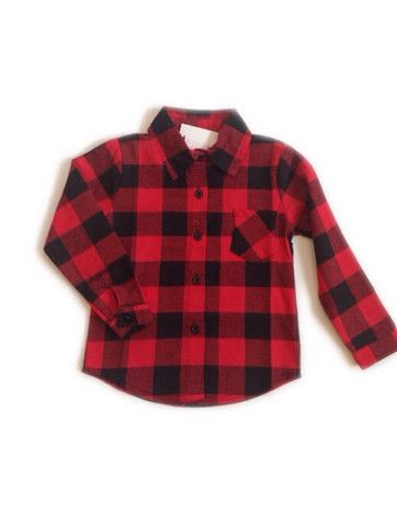 1aa16189b Children s Buffalo Plaid Button-Up Flannel Shirt in Red and Black ...