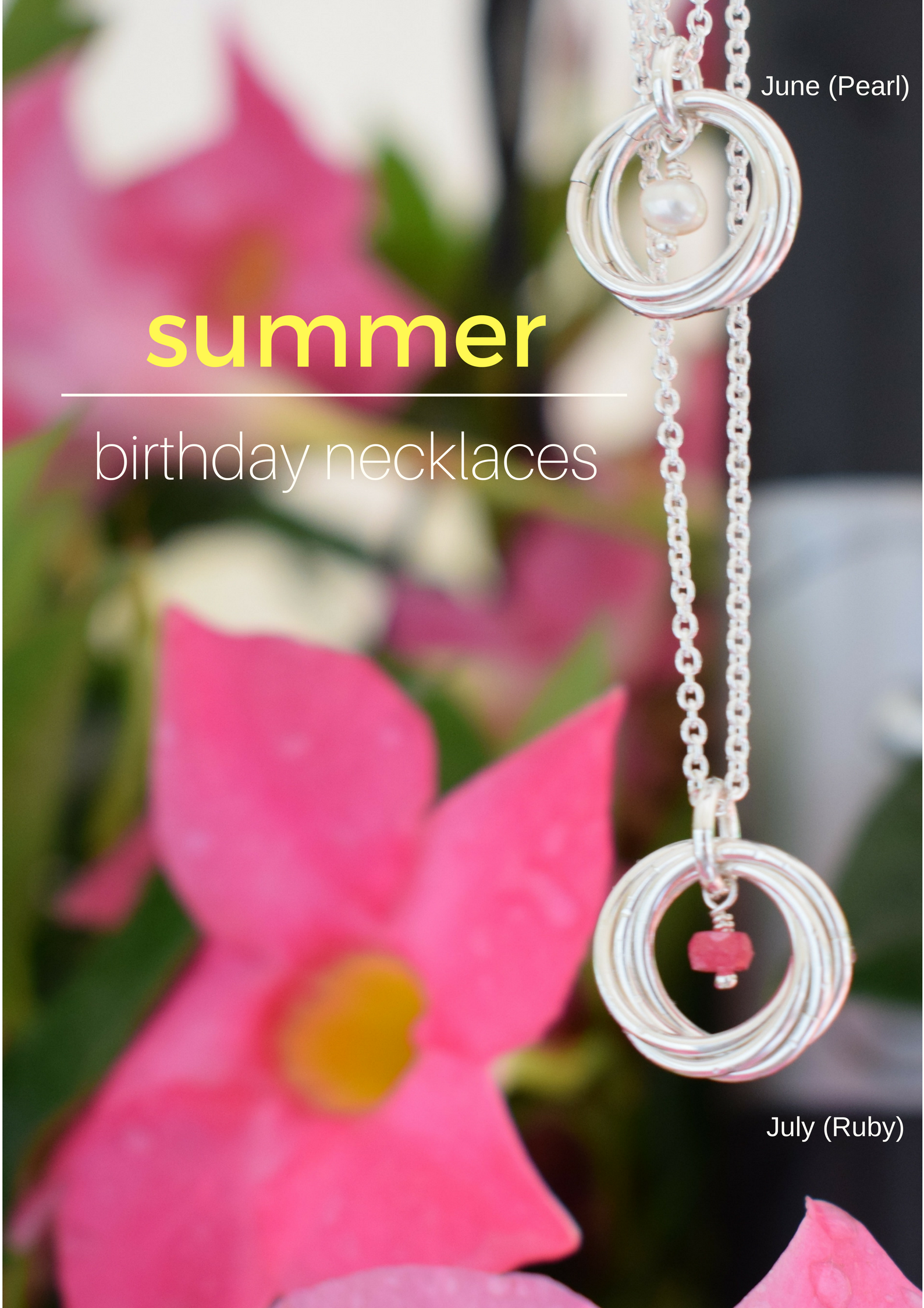 Summer Birthday Gifts For Her June July Birthstone Necklaces Pearl Ruby