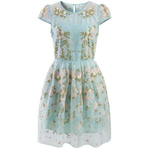 Chicwish Fairland Blue Floral Embroidered Organza Dress