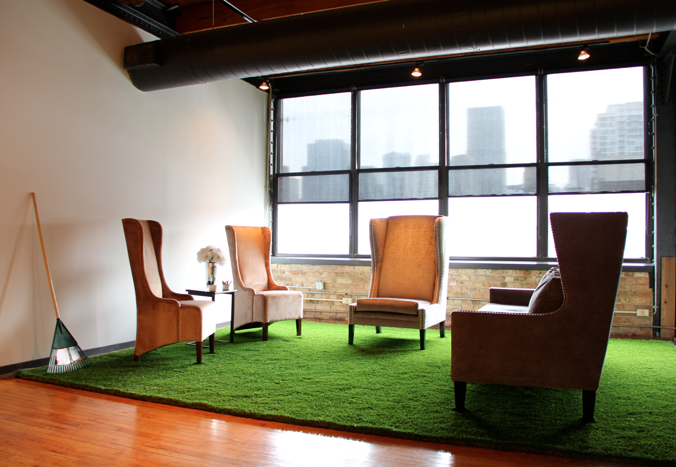 Astroturf As A Rug And Few Well Places Chairs Can Really Bring Retro Grunge