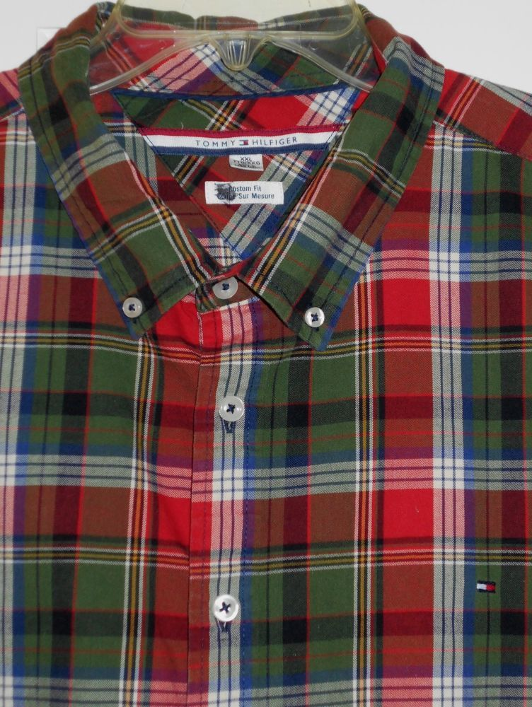 b753736e Mens $89 TOMMY HILFIGER Red Green Blue Plaid Check Shirt~XXL~Great w/  Sweaters #TommyHilfiger #ButtonFront