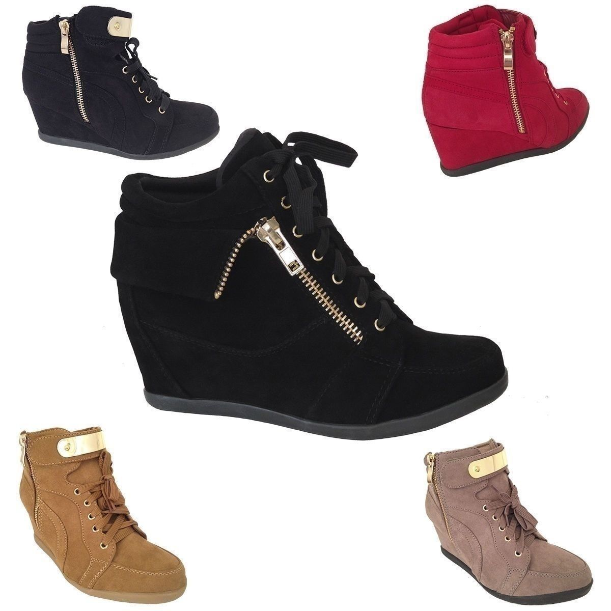 Cool NEW Womens Wedge Sneakers High Top Fashion Heels Booties Ankle Boots  Lace Shoes 2017-
