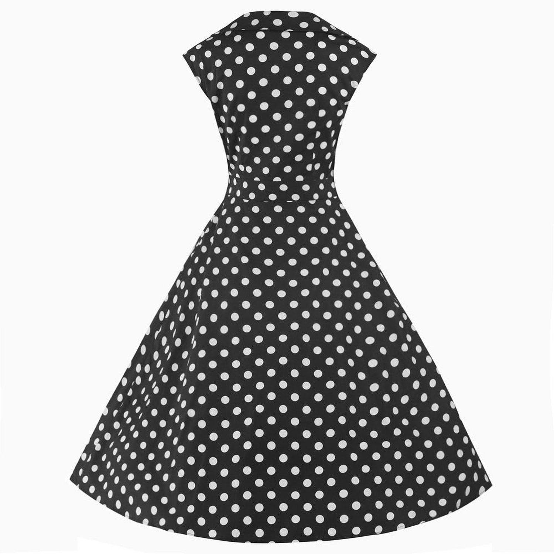 Pretty Kitty Fashion - Robe - Noir et Pois Blanc: Amazon.fr: Vêtements et accessoires