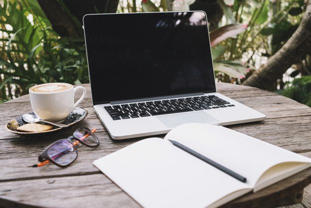 Sketchbook near laptop and coffee Free P... | Free Photo #Freepik #freephoto #business #coffee #technology #table