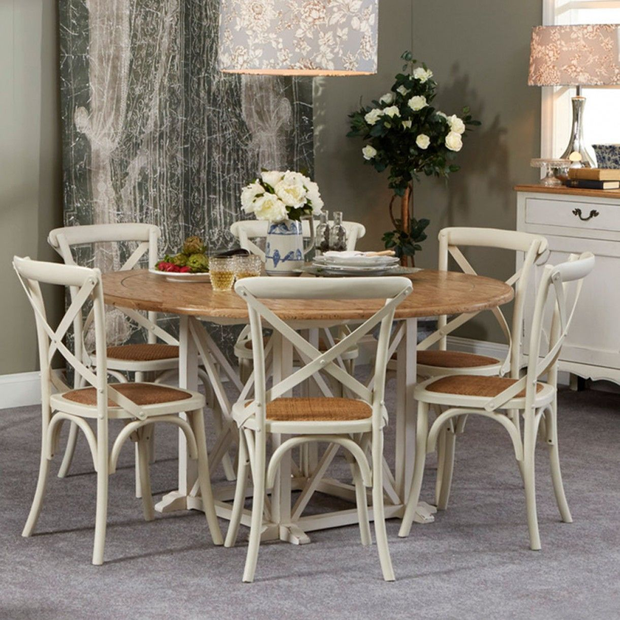 Provincial Oak Round Table White With 6 Cross Back Chairs Vintage White Package Round Dining Table White Dining Table Round Back Dining Chairs
