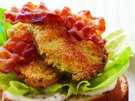 Fried Green Tomato BLT/ I use panko bread crumbs instead of cornmeal. Yummo.