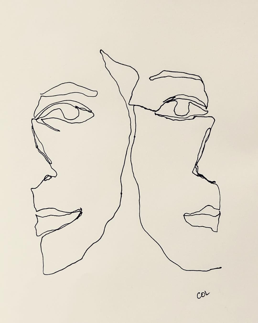 Changing Faces One Line Drawing By Colly Face Line Drawing Line Art Drawings Line Drawing Face