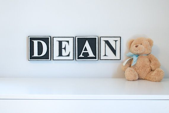 5 Inch Tall Personalized Letter Blocks Nursery Name Wooden Alphabet Custom Baby Plaque Sign Wall Letters