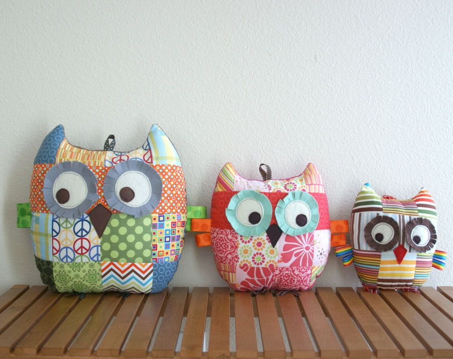 Large Patchwork Owl Pillow Plush Toy - Lilac and Gray. | Nens ...