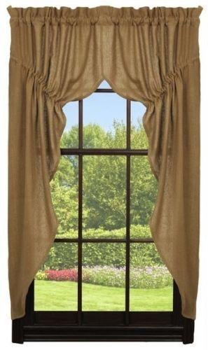 "New Country Primitive Log Cabin Tan NATURAL BURLAP PANELS Window Curtain 63/"""