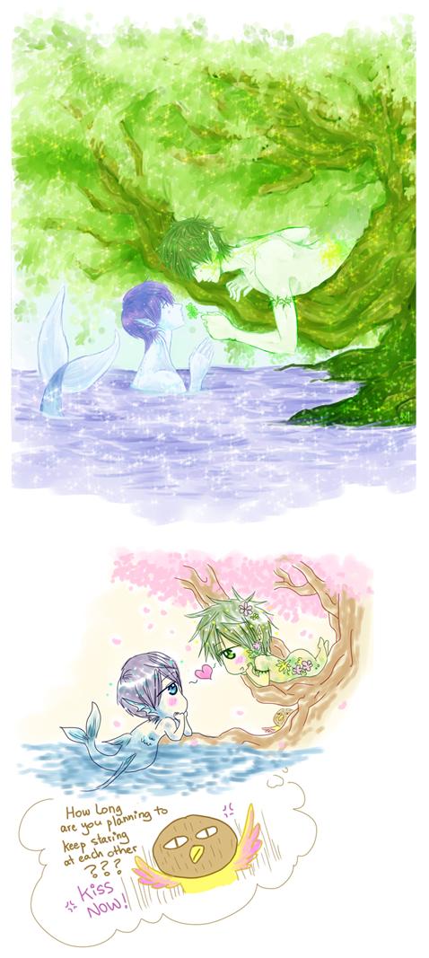 Courtship ... Nature spirit story 1 ...  Drawn by racyue ... Free! - Iwatobi Swim Club, haruka nanase, haru nanase, haru, free!, iwatobi, makoto tachibana, makoto, tachibana, nanase