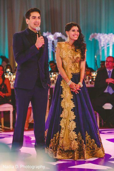 Stunning Blue Gold Lehenga Designer Indian Couture Wedding