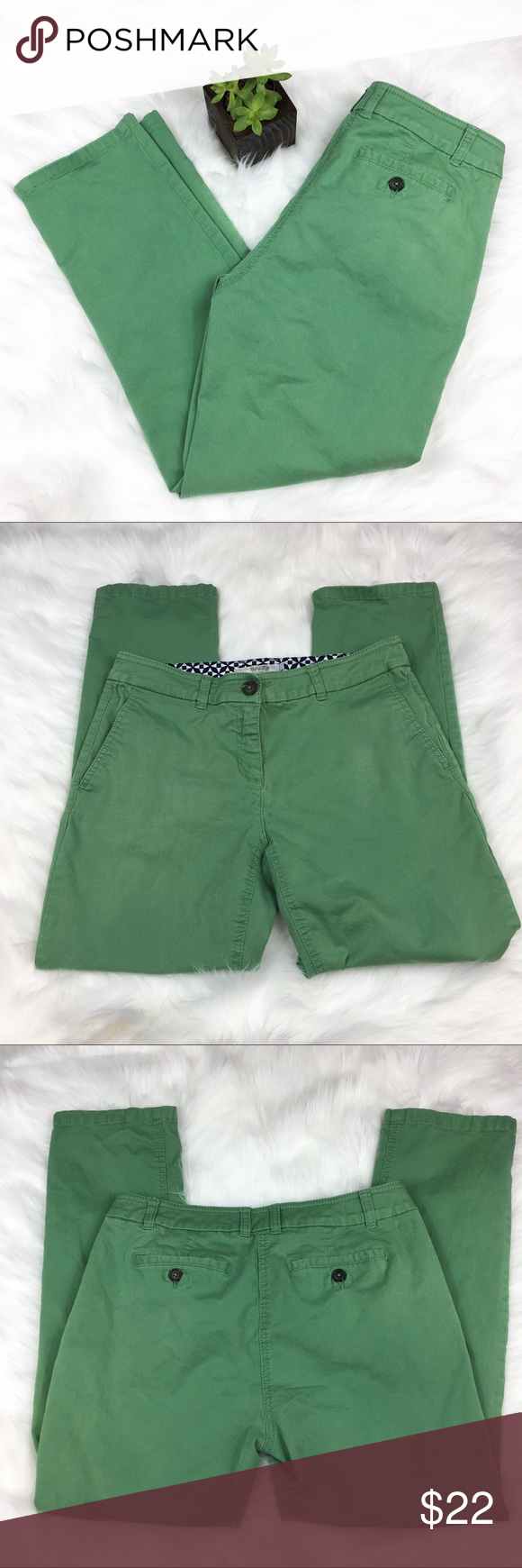 Boden Green Capris Boden Green Capris. Size 6 petite. Approximate measurements flat laid are 24' inseam and 8' rise. GUC with some wear. The right pocket does have a light worn spot as pictured. Not extremely noticed when worn. ❌No trades ❌ Modeling ❌No PayPal or off Posh transactions ❤️ I 💕Bundles ❤️Reasonable Offers PLEASE ❤️ Boden Pants Capris