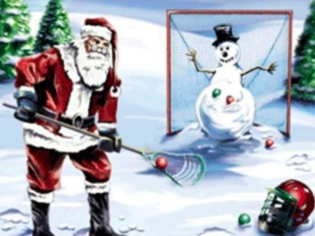 Santa and a Snowman Laxin | Lacrosse, Crafty, Snowman