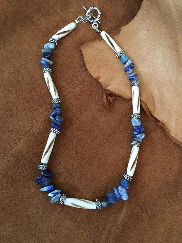 Handmade Mens Genuine Blue Lapis Lazuli Stone Carved Bovine Bone Silver Toned Spike Beaded Necklace Jewelry by WishboneJewelryCraft on Etsy
