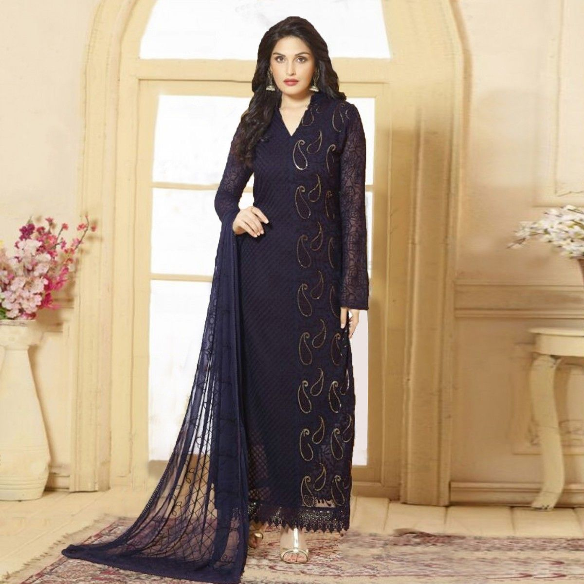 5aac527f2a Buy Navy Blue Straight Cut Karachi Suit for womens online India, Best  Prices, Reviews - Peachmode
