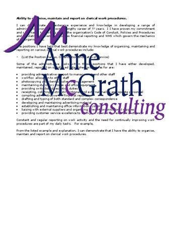 Admin - Ability to organise, maintain and report on clerical work - consulting report